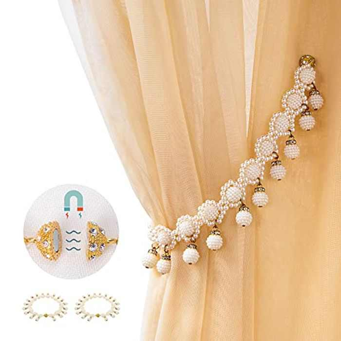 Tayis Magnetic Curtain Tiebacks White 2 Pack,Pearl Curtain Tie Back Clips for Thin or Sheer Window Drapries