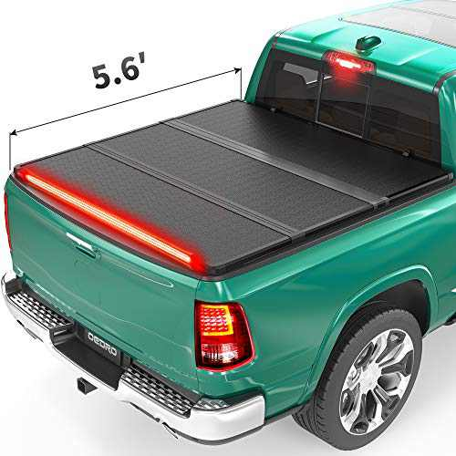 oEdRo Hard Folding Tonneau Cover with Built-in Light Strip, Trifold Hardtop Truck Bed Cover Compatible with 2009-2021 Dodge Ram 1500 Classic Without Rambox, Fleetside 5.6ft Bed