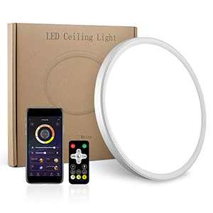 LED Flush Mount Ceiling Light, Smart app Control, 12inch High Bright 3100lm, Super Slim Ceiling Light, Color Adjustable, Dimmable Ceiling Light for Bedroom,Living Room, Dining Room(White, One Pack)