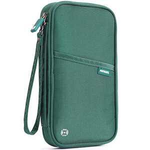 VanFn RFID Travel Passport Wallet, Family Passport Holder, Trip Document Organizer P.Travel Series (Nylon - Green)