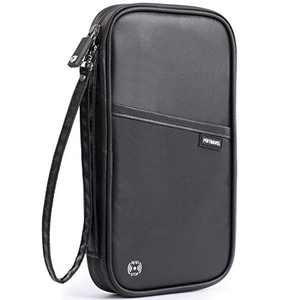 VanFn RFID Travel Passport Wallet, Family Passport Holder, Trip Document Organizer P.Travel Series (Nylon - Black)