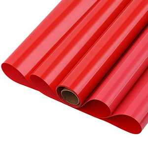 GraceM HTV just Buy it Iron on Vinyl Works Perfect with Silhouette for T-Shirt and Other DIY Materials, Easy to Cut&Weed, Customer Repeat 5ft by 12inch roll Matte Heat Transfer Vinyl(Red)