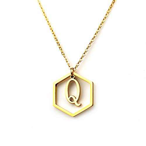 CLAMOON Initial Necklace for Women, 14k Gold Filled Letter Pendant Necklace,Dainty Personalized Alphabet 26 Monogram Initial Necklace for Women Jewelry Gifts (Letter-Q)