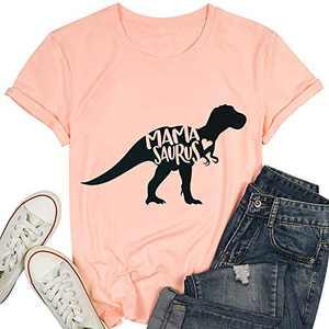 T&Twenties Mama Dinosaur Shirt Cute Mama Saurus Shirts for Women Casual Mom Dinosaur Mama Saurus Graphic Tee Shirt Pink