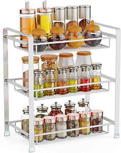 Spice Rack, Cambond 3 Tier Seasoning Rack Organizer, Kitchen Bathroom Countertop Standing Storage Shelf, White