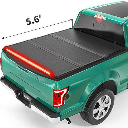 oEdRo Hard Folding Tonneau Cover with Built-in Light Strip, Trifold Hardtop Truck Bed Cover Compatible with 2015-2021 Ford F150, Styleside 5.6ft Bed