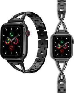 2 Pack Compatible with Apple Watch Band 38mm 40mm Women iWatch Bands for Watch SE, Series 3, Series 6, Series 5 4 2 1, 1 Metal and 1 Silicone Strap Replacement, Black