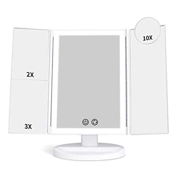 alvorog Vanity Makeup Mirror with 72 LED Lights and 3 Colour Modes, 1x/2x/3x/10x Magnification Tri-Fold Mirror, Stepless Dimming, 30 Mins Auto Off, Dressing Table Mirror with Dual Power Supply