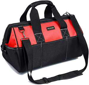 "HUIJIA 13-inch Tool Organizer Bags Wide Mouth Waterproof Heavy Duty Tool Bag with Water Proof Molded Base (S, 13.3""X6.5""X8.3"")"