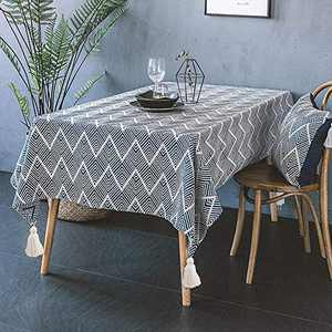 Kuchisity Rectangle Tassel Tablecloth, Wrinkle Free Anti-Fading Waterproof Tablecloth, Heavy Weight Polyester Farmhouse Table Cloth for Kitchen Dinning Tabletop Table Cover 53 x 53 Inch