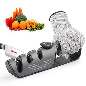 Knife Sharpener 3 In 1 Kitchen Knife Accessories and Scissor Sharpener Helps Repair Restore and Polish with Adjustable Angle Button for Various Knives, Cut-Resistant Glove Included