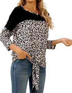 LilyCoco Women Leopard Print Shirt Tie Knot Tunics Long Sleeve Round Neck Pullover Tops Black S