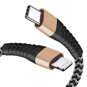 6FT USB C to Lightning Cable, Nylon Braided MFi Certified iPhone Charger Fast Charging Cable for Use with Type-C Chargers, Type C to Lightning Cable for iPhone 12 Pro/12 Mini/12 Pro Max/11/XR