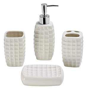 Gricol Ceramic Bath Accessory Set Liquid Soap Lotion Dispenser Toothbrush Holder Soap Dish White