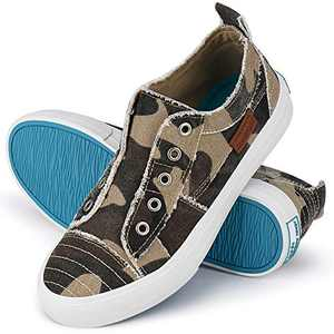 Women Canvas Sneakers Slip On Shoes Low Tops Casual Walking Shoes Comfortable Camo 7.5