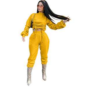 ThusFar Tracksuits Suits for Women 2 Piece Jogging Outfits Long Sleeve Pullover Sweatshirts and Pants Sets,Yellow,Large