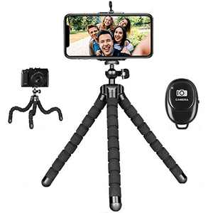 Phone Tripod for iPhone, Mini Flexible Tripod Adjustable Camera Stand Holder with Wireless Remote Compatible for iPhone Samsung Android Phones GoPro for Selfies Vlogging Live Streaming Video Recording