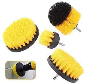 Royamaroo Drill Brush Attachment Set,Power Cleaning Scrub Brush with Extend Long Attachment for Bathroom Surfaces, Grout, Floor, Tub, Shower, Tile, Corners, Kitchen and Car (Yellow and black)