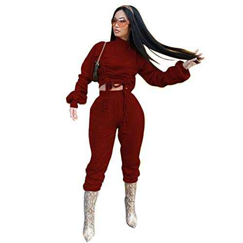 ThusFar Tracksuits Suits for Women 2 Piece Jogging Outfits Long Sleeve Pullover Sweatshirts and Pants Sets,Wine Red,X-Large