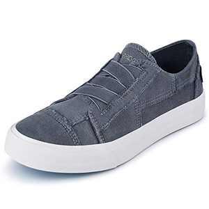 JENN ARDOR Women Fashion Canvas Sneakers Slip On Shoes Low Top Casual Walking Shoes Flats