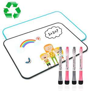 White Board for Kids, XYZCREAT Dry Erase Board Double Sided 11.8 x 8.3 Inches 2 Pack, Small Whiteboard Lapboard for Students, Small White Board for Kids School Home Office