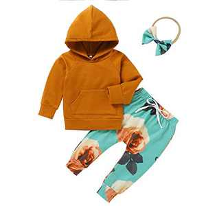 Toddler boy Girl Clothes Long Sleeve Hoodies+Floral Graphic Pants+Headband 3PCS Infant Outfits Fall Winter Suit Orange