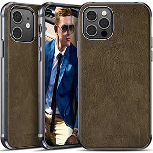 LOHASIC for iPhone 12 Pro Case Men, for iPhone 12 Phone Cover Women, PU Leather Elegant Classy Business Protective Shockproof Non-Slip Anti-Scratch Soft One Piece Bumper 12Pro 6.1 Inch Olive
