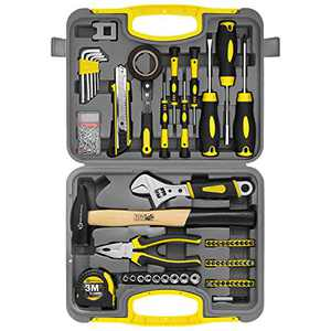 117 Pcs Household Repair Tool Sets DIY Portable Mixed Hand Tool Kit,Socket Wrench Tool Kit & Auto Repair Tool Hand with Plastic Tool Box Storage for Home,Apartment,Garage,Dorm and Office Repair