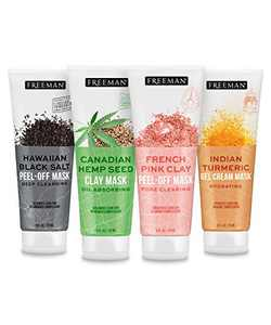 Freeman Beauty Exotic Blends Face Mask Variety Set with Clay, Peel-Off, Gel + Cream Facial Masks, Skin Care for Women, 4pk Tubes