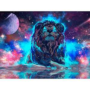 Amphol Lion Diamond Painting Kits for Adults, 5D Diamond Painting for Kids Beginner, Full Drill Diamond Art for Gift Home Decoration(16x12 Inch)