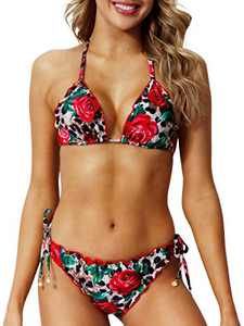 Peddney Women Halter Thong Bikini Tie Side Bikini Swimsuit Low Waist Two Pieces Swimsuit