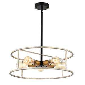 "Topotdor 20"" Farmhouse Pendant Light in White Finish,5-Light Industrial Chandelier Hanging Light Fixture for Dining Room Bedroom Living Room"