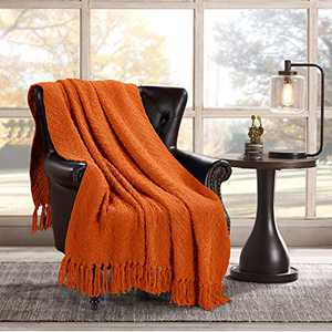 HOMEIDEAS Textured Knit Blanket (50×61 Inches), Woven Super Soft Throw Blanket with Tassels Warm Decorative Blanket for Couch Sofa Chair Bed Living, Orange
