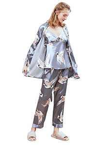 Homeyshoppe Women's 3 Piece Satin Pajama Set with Robe Floral Print Lace Silky Cami Top Long Pant Sleepwear Set Grey