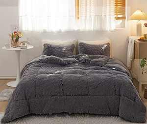 Janzaa Faux Fur Comforter Set,Shaggy Comforter Set Queen/Full,Fluffy Comforter Set Dark Grey 3 Pieces Plush Comforter Set,Plush & Velvet Flannel Comforter (1 Plush Comforter Set+ 2 Pillow Cases)