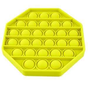 Push Pop Bubble Fidget Sensory Toy, MoBeauty Silicone Fidget Toy Relieve Stress Autism Fidget Toys for Anxiety (Yellow,Octagon)