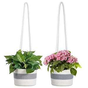 """2 Pack Cotton Rope Hanging Planter Baskets- 8"""" x 5.9"""" Stylish Hand Woven Plant Holder with 22"""" Long Hanging Rope Decorative Macrame Plant Hangers for Indoor Plants Flowers Home Decors (Grey & White)"""
