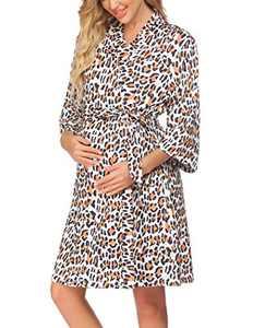 Ekouaer Sleepwear Womens Short Bathrobe with 3/4 Sleeves Soft KimonoRobesLadiesLoungewear S-XXL
