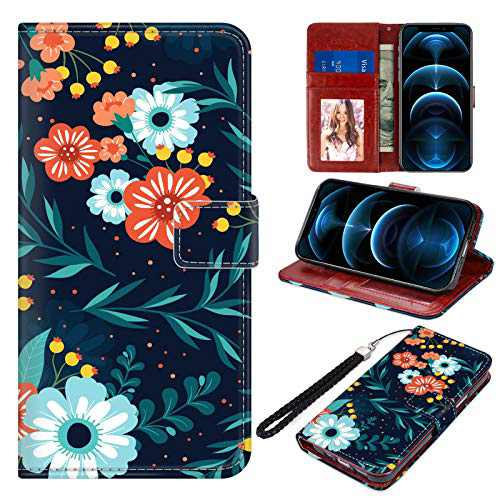 """Designed for iPhone 12 Mini Wallet Case PU Leather Folio Flip Protective Cover Orange Blue Flowers Floral Magnetic Credit Card Holder with Hand Strap Kickstand Women Girls for iPhone 12 Mini 5.4"""""""