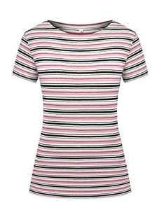 LilyCoco Women's Short Sleeve Mulit Striped T-Shirt Tee Tops Loose Fit Blouses (Small, Multi Pink Stripe)