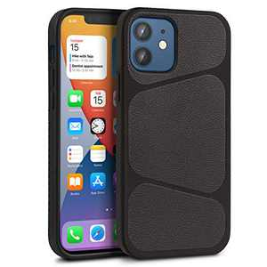 LAUDTEC Shockproof Compatible with iPhone 12 Case, TPU Leather Hybrid Slim Case for iPhone 12 Pro 6.1 Inch 5G New Geometric Pattern Phone Cover Case Drop Protective Phone Case (Black)