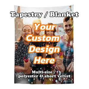 Personalized Custom Tapestry Wall Hanging Customized Your Own Photo, Text Wall Blanket Gifts for Wedding, Pets, Family for Home, Bedroom, Dorm (44Wx60L, Velvet)