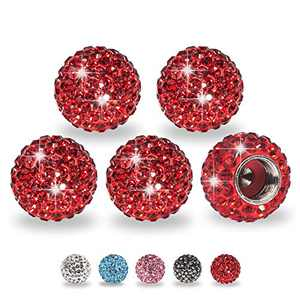 ForFine Tire Caps Bling Crystal Rhinestone Valve Stem Cap, 5 Packs Universal Tire Valve Caps for Car, SUV, Motorcycle, Bike, Bicycle, Truck (Red)