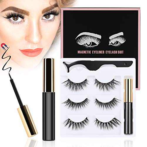 ToyRis Magnetic Eyelashes with Eyeliner Kit - 3 Pairs 10 Pairs Waterproof Reusable 3D 5D Natural Look False Lashes with Tweezers No Glue Needed (3 Pairs (Mixed))