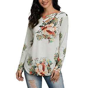 Davenil Women's Long Sleeve Tops V-Neck Flower Loose Tunic Tops Irregular Hem Casual Shirt Flower B Size M
