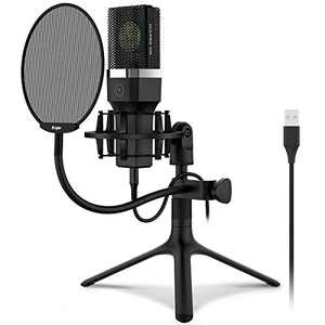 USB Microphone, Kungber Condenser Computer PC Mic with Adjustable All Metal Tripod Stand and Shock Mount, Pop Filter & Mute Button for Recording, Streaming, Gaming, Podcast, YouTube, Voice Over KT01