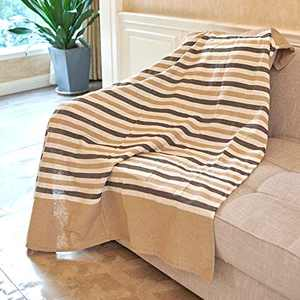 MOTINI Beige and Coffee Stripe Throw Blanket Cotton Woven Farmhouse Decorative Throw Blankets for Sofa Chair Couch Bed 50x60 Inches