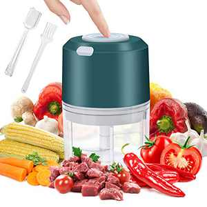 Electric Mini Garlic Chopper, YIKA Portable Food Chopper: Spice Blender Grinder, Easy to Use For Garlic Pepper Meat Nut Fruit, 260ML (Green)