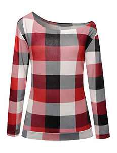 Women Long Sleeve Off The Shoulder Tops Casual Plaid Tee Shirt Blouse(X-Large,Red Plaid)