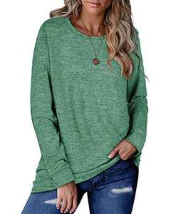 ALLTB Womens Long Sleeve Sweaters Casual Crewneck Shirts Solid Basic Pullover Tops Green XX-Large